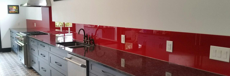 Glass backsplash Painted glass kitchen
